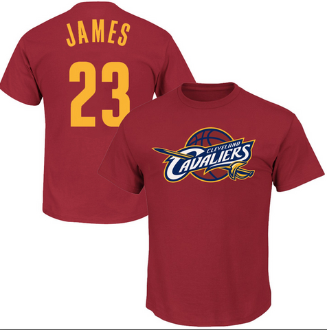 Lebron James Cleveland Cavaliers Logo On Front Player Tee By Majestic