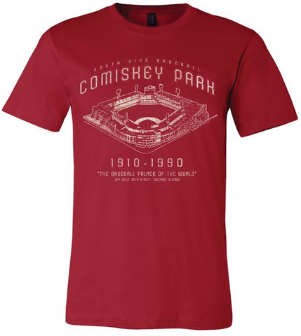 Chicago White Sox Comiskey Park Blueprint Canvas Red Tri Blend Tee