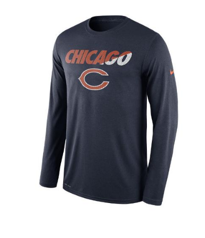 Chicago Bears Legend Long Sleeve Staff Practice Tee By Nike - Pro Jersey Sports
