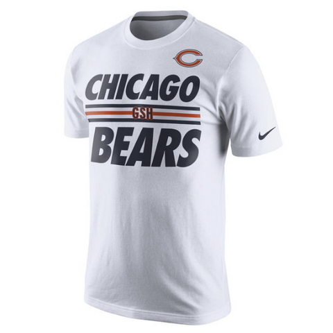 Nike Men's Chicago Bears White Team Stripe T-Shirt