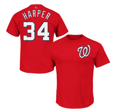 Washington Nationals Bryce Harper Majestic Red Official Name and Number T-Shirt