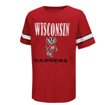 Wisconsin Badgers Youth Free Agent Tee By Colosseum Athletics