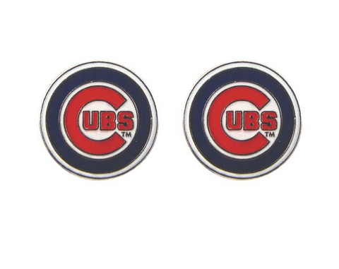 Chicago Cubs Logo Post Earrings By PSG - Pro Jersey Sports