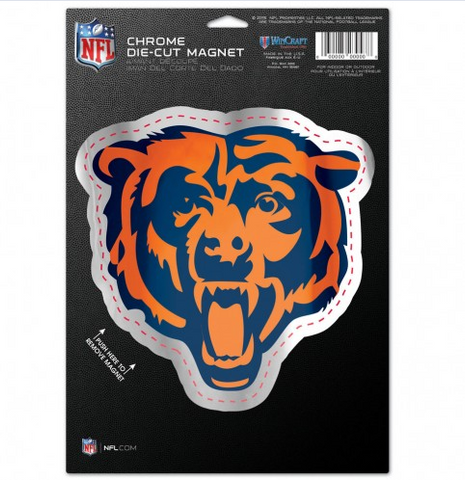Chicago Bears 6.25X9 Chrome Die Cut Magnet By Wincraft - Pro Jersey Sports