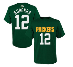 Aaron Rodgers Green bay Packers Youth Mainliner Name And Number Player Tee - Pro Jersey Sports - 1
