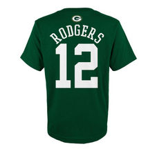 Aaron Rodgers Green bay Packers Youth Mainliner Name And Number Player Tee