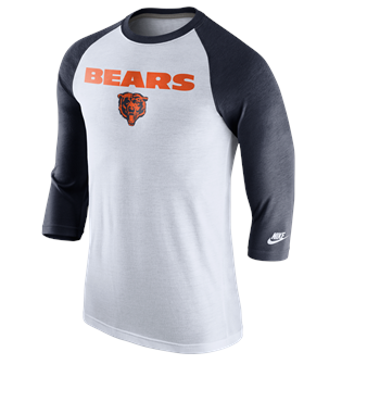 Chicago Bears Mens Historic Tri-Blend Raglan T-Shirt By Nike