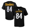 Youth Pittsburgh Steelers Antonio Brown Black Mainliner Name & Number T-Shirt - Pro Jersey Sports - 1