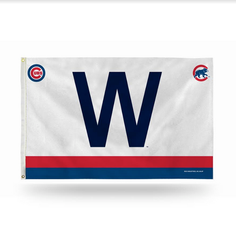 "Chicago Cubs 3' X 5' ""W"" Flag With Logos By Rico - Pro Jersey Sports"