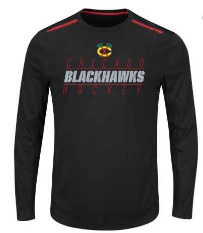 Men's Chicago Blackhawks Quick Whistle Long Sleeve Cool Base Tee By Majestic - Pro Jersey Sports