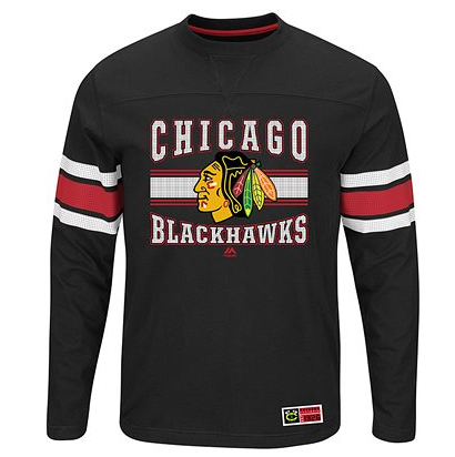 Chicago Blackhawks Mens Forecheck Long Sleeve Crew Neck Tee - Pro Jersey Sports