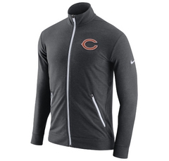 Nike Chicago Bears Dri-Fit Touch Fleece Full Zip Track Jacket (Charcoal)