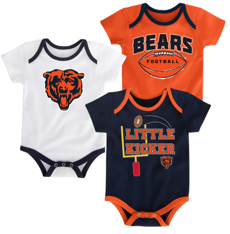Chicago Bears Infant 3-Pack Tiny Fan Creepers