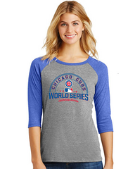Chicago Cubs Ladies 2016 World Series Multi Count Raglan T-Shirt - Pro Jersey Sports