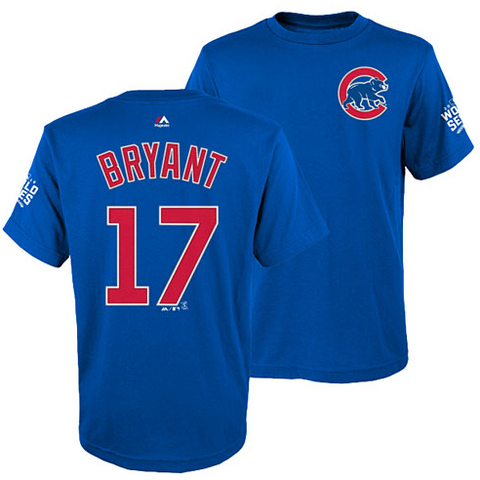 Chicago Cubs Youth Kris Bryant 2016 World Series Name and Number T-Shirt