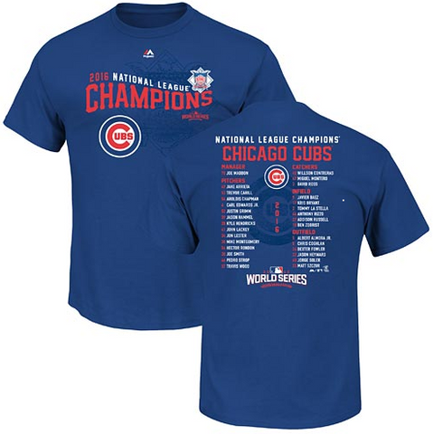Chicago Cubs 2016 NL Champs Quest Roster T-Shirt