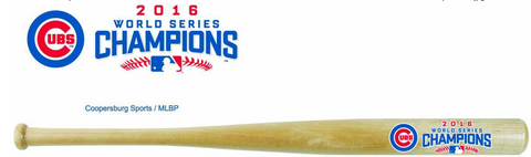 CHICAGO CUBS WORLD SERIES 2016 CHAMPIONS MLB NATURAL WOOD BASEBALL BAT BY COOPERSBURG SPORTS - Pro Jersey Sports