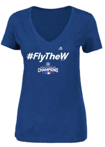 Women's Chicago Cubs 2016 World Series Champions Fly The W Hashtag V-Neck Tee By Majestic - Pro Jersey Sports