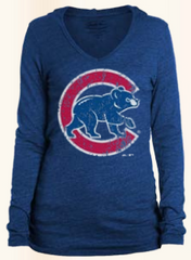 Women's Chicago Cubs Over Sized Walking Bear Logo Long Sleeve  Triblend Hoodie Tee