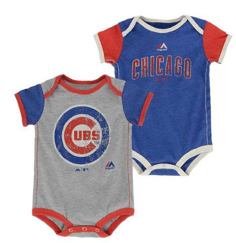 Infant Chicago Cubs Majestic Royal/Gray Vintage Baby 2-Piece Bodysuit Set