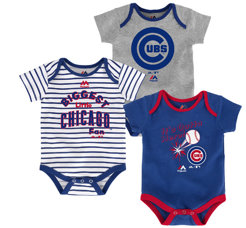 Newborn Chicago Cubs Home Run 3-Pack Bodysuit Set By Majestic