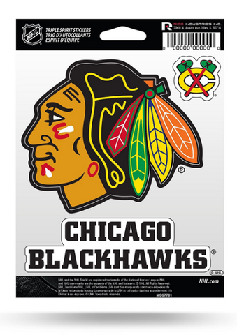 Chicago Blackhawks Triple Spirit Stickers By Rico