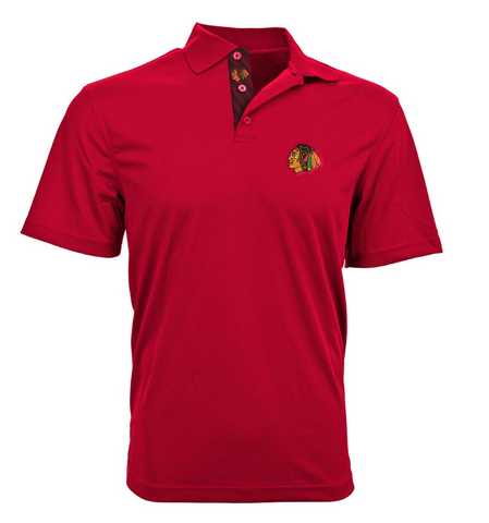 Mens Chicago Blackhawks Omaha Skate Lace Polo, Red