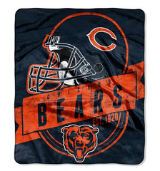 Chicago Bears Blanket 50x60 Raschel Grandstand Design