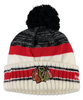 Chicago Blackhawks Youth Center Ice Cuffed Pom Knit Hat