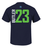Men's Minnesota Timberwolves Jimmy Butler Vertical Name and Number Majestic Tee