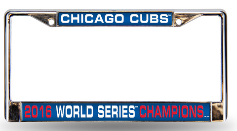 Chicago Cubs 2016 World Series Champions Laser Chrome License Plate Frame, Team Color-Rico