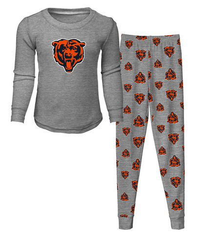 Child OuterStuff NFL Kids Chicago Bears Gray Long Sleeve Tee and Pant Sleep Set