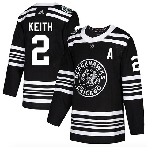 Men's Chicago Blackhawks Duncan Keith adidas Black 2019 Winter Classic Authentic Player Jersey