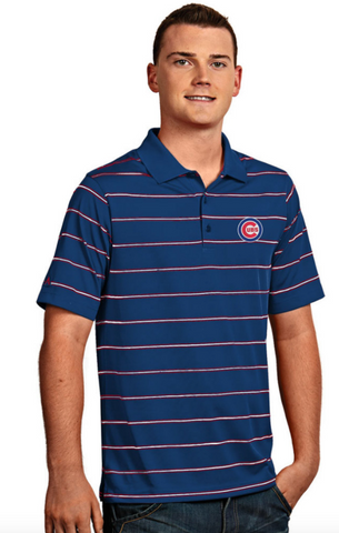 Antigua Men's Chicago Cubs Deluxe Striped Performance Polo