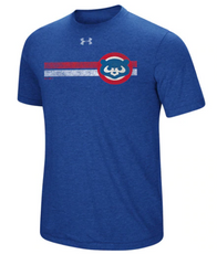 Men's Chicago Cubs Under Armour Cooperstown Collection Heathered Royal Stripe Logo Tri-Blend T-Shirt