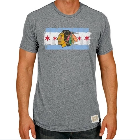 Men's Chicago Blackhawks Distressed Retro Brand Gray Chicago Flag Tee