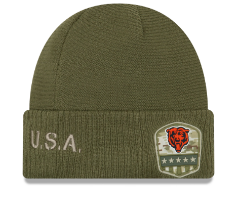 Chicago Bears New Era Green 2019 NFL Sideline Official Salute To Service Sport Knit Hat