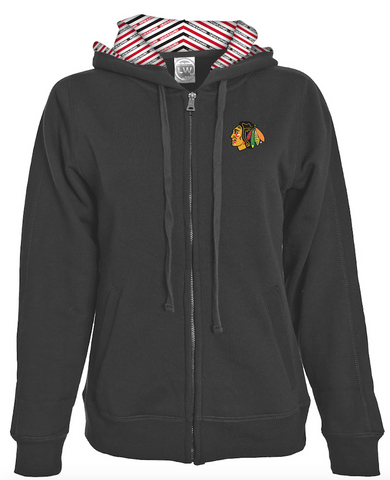Womens Chicago Blackhawks Chevron Full Zip Hoodie By Levelwear
