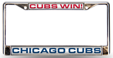 "Chicago Cubs ""Cubs Win!"" Design Laser-Cut Chrome Auto License Plate Frame - Pro Jersey Sports"