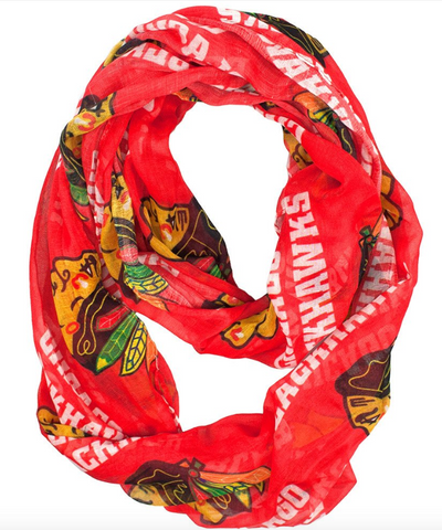 Chicago Blackhawks Womens Sheer Infinity Scarf-Red - Pro Jersey Sports