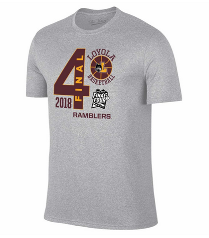 Mens Loyola Chicago Ramblers Adult Final Four Gray T-Shirt