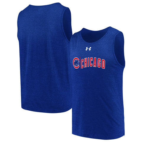 Men's Chicago Cubs Under Armour Royal Duel Logo Tri-Blend Tank Top