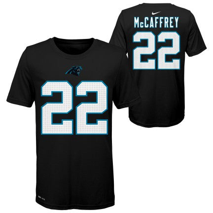 Youth Carolina Panthers Christian McCaffrey Nike Black Player Pride Name & Number T-Shirt