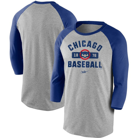Men's Chicago Cubs Nike Gray/Royal Cooperstown Collection Vintage Tri-Blend 3/4-Sleeve Raglan T-Shirt