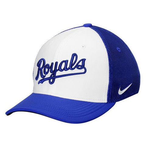 Kansas City Royals Nike White/Royal Vapor Performance Swoosh Flex Hat