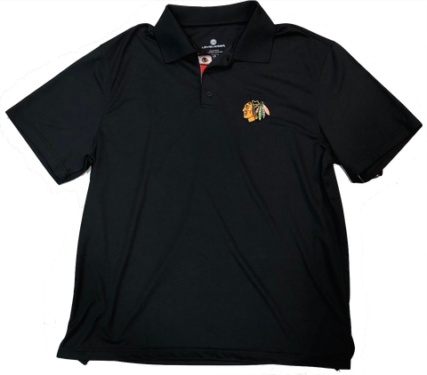 Chicago Blackhawks Omaha Bar Stripe Polo By Levelwear-Black
