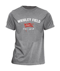 Men's Wrigley Field Brushcraft Est. Flag Short Sleeve Tee-Heather/Grey