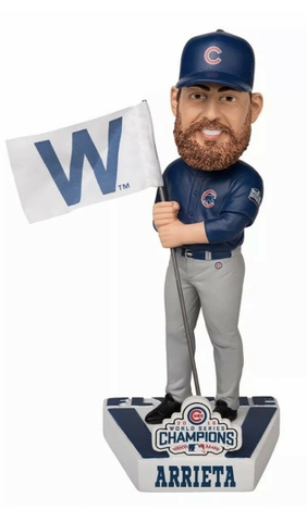 Chicago Cubs Jake Arrieta 2016 World Series Champions Fly the W Flag Bobblehead