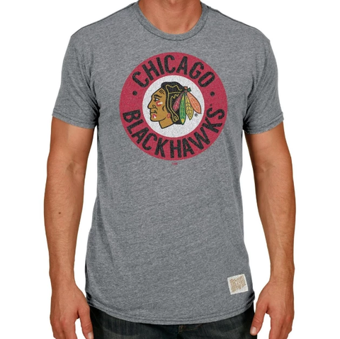 Men's Chicago Blackhawks Retro Brand Gray Circle Logo Tee