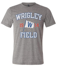 "Chicago Cubs Wrigley Field with ""W"" Flag Triblend Tee-Gray"